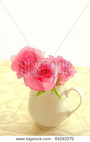 Beautiful Romantic Pink Roses In A White Vase