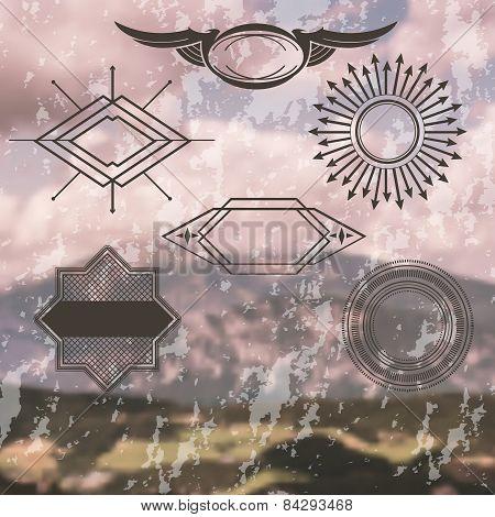 Retro Vintage Insignias or Logotypes set on blurred background