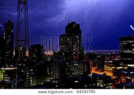 Thunderstorm In The Melbourne City