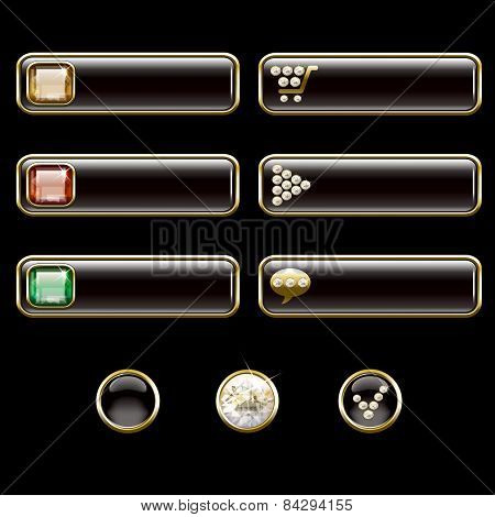 Internet Buttons, Gold And With Precious Stones