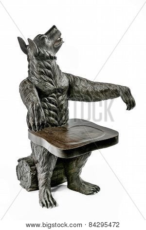 Arm Chair Wooden Antique Carved From Black Forest, Germany
