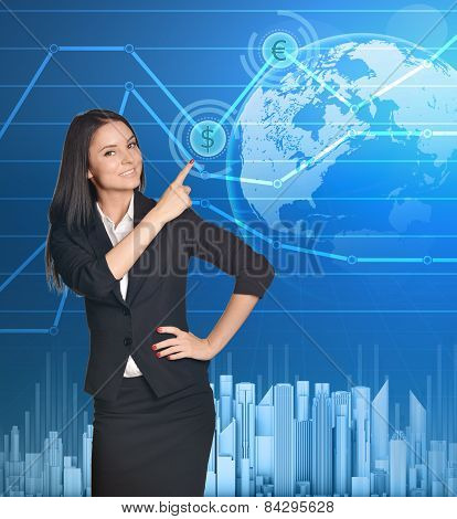 Business woman shows forefinger up on symbol dollar