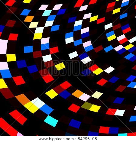 Colorful squares mosaic on black background. Abstract red blue polygonal tiles. Illustration.