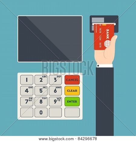 Atm Terminal And Hand With Credit Card