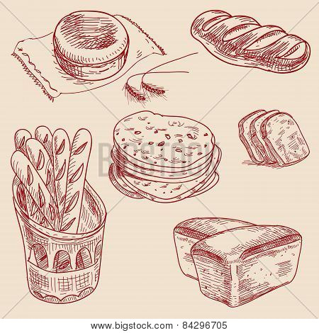 Bakery products hand drawn sketch different kinds bread