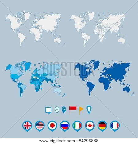 Political world map and geo tag pin pointers marker vector illustration