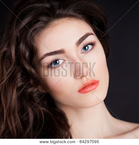 Alyona, Serious Face With Blue Contact Lenses, Black Background