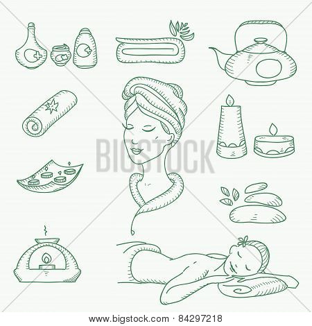 Spa doodle hand drawn sketch  icons set with  towels aroma candles beauty, health care, cosmetics, s