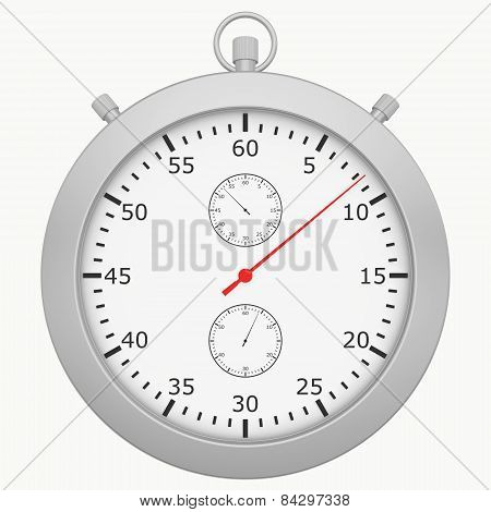stopwatch with button isolated on white background