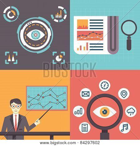 Set Of Analytics Information And Data Handling Symbols