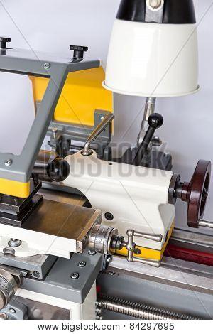Closeup Of A Lathe Machine