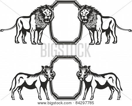 Frame with animals of Africa
