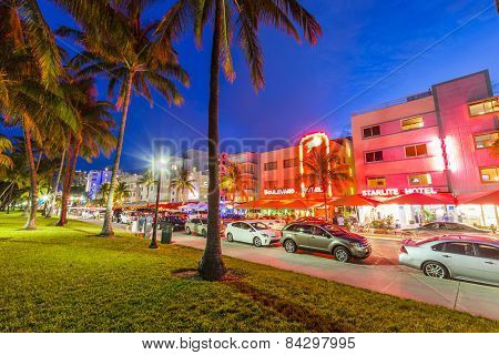 Night View At Ocean Drive In Miami