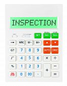 pic of inspection  - Calculator with INSPECTION isolated on display on white background - JPG