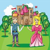 pic of prince charming  - Vector illustration of cartoon castle and Prince and Princess - JPG