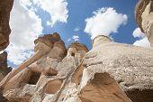 stock photo of chimney rock  - The vulcanic fairy chimneys in Cappadocia Turkye - JPG