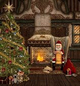pic of chalet  - Santa Claus in his chalet reads christmas letters - JPG