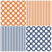 picture of dots  - Tile vector pattern set with white polka dots and stripes on sailor navy blue and orange background for seamless decoration wallpaper - JPG