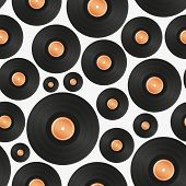 stock photo of lp  - long play LP audio music media symbol seamless pattern eps10 - JPG
