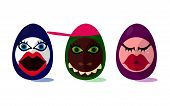 picture of wench  - Cute funny Easter eggs with girl and animal face on white background - JPG
