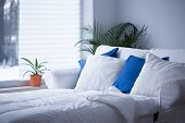 image of blue white  - White and blue cushions on the bed - JPG