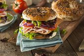 picture of tomato sandwich  - Healthy Turkey Sandwich on a Bagel with Lettuce and Tomato - JPG
