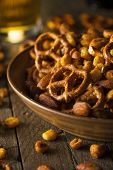 image of mixed nut  - Seasoned Pub Snack Mix with Nuts and Pretzels