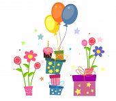 stock photo of birthday  - Happy birthday card with Birthday cake and gifts - JPG
