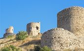 image of fortified wall  - the Ruins of big ancient fortress wall - JPG