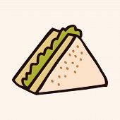 stock photo of high calorie foods  - Fast Food Sandwich Flat Icon Elements - JPG