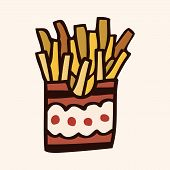 stock photo of high calorie foods  - Fast Food French Fries Flat Icon Elements - JPG