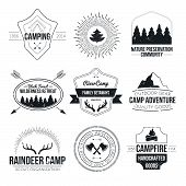 image of antlers  - Set of vintage camping and outdoor activity logos - JPG
