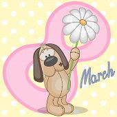 foto of puppies mother dog  - Greeting card Dog with flower on the dots background - JPG