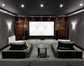 stock photo of home theater  - Interior of new modern luxury home theater - JPG