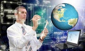 stock photo of globalization  - Globalization connection Internet technology - JPG