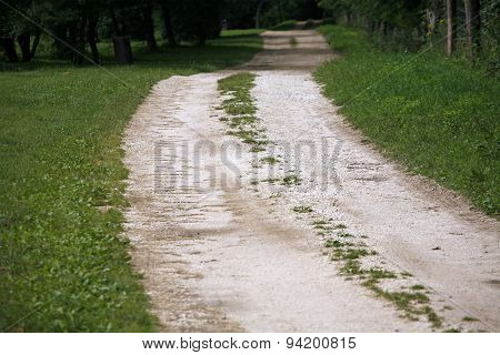 Romantic Dusty Road In Countryside Rural Scene