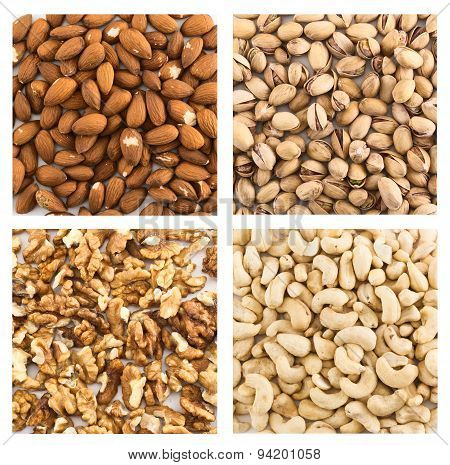 Almond, pistachio, peanut, walnut backgrounds