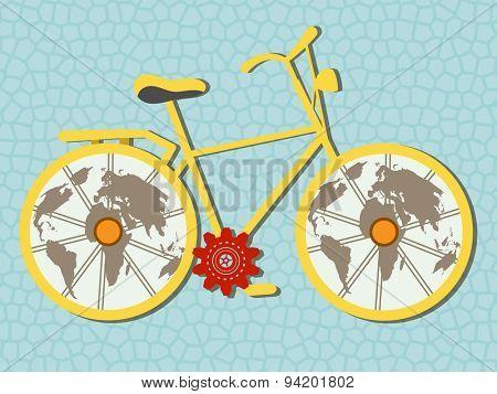 Bike with globe earth wheels