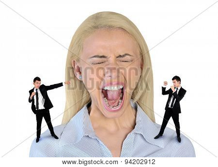 Isolated little business man screaming on stressed woman