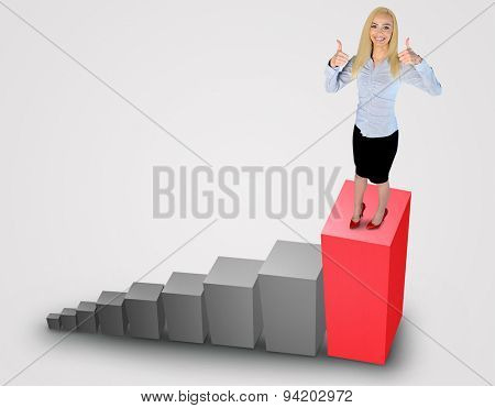 Business woman showing ok sign on top of chart