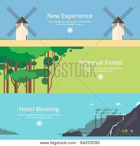 Colorful vector flat banner set. Quality design illustrations, elements and concept - Hotel booking, House at the lake, Mountain hotel, Time travel, Virgin forest, Jungle, New experiences