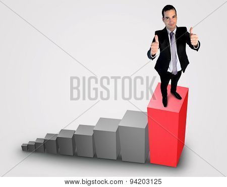 Business man showing ok sign on top of chart