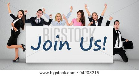 Join us word writing on banner