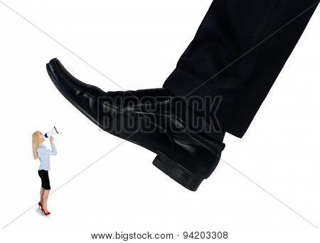 Isolated feet man crushing little business woman