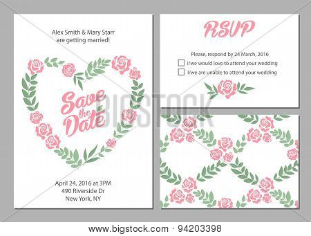 Wedding invitation card suite with daisy flower Templates and pattern.