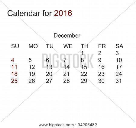 Vector modern calendar for december 2016