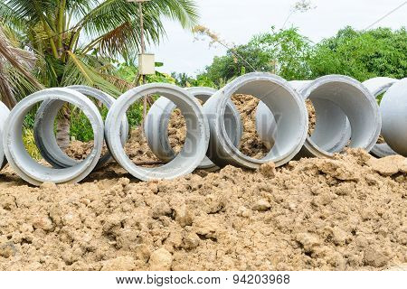 Concrete Drainage Pipes Stacked For Construction, Irrigation, Industry