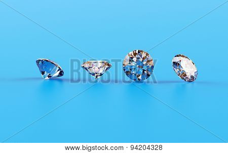 Jewelry gemstone round shape on blue  background