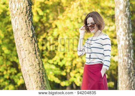 Modern Lifestyle And Fashion Concepts: Positive And Smiling Caucasian Brunette Female