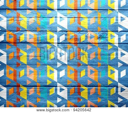 Colorful abstract art geometric wood background